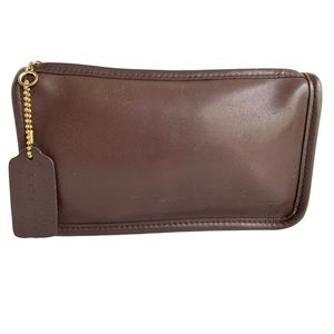 Coach Vintage Smooth Brown Leather Pouch Clutch